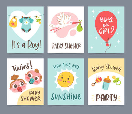 Cute vector hand drawn new born card collection. Gift cards and invitation. Baby shower celebration concept.