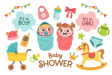Set of cute hand drawn baby and newborn accesories isolated on white background. Cartoon baby girl and baby boy with labels. Colorful vector illustration. Иллюстрация