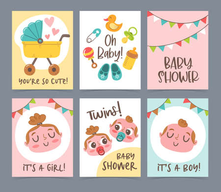 Cute vector hand drawn new born card collection. Baby shower gift cards and invitations. Little boy, little girl and twins. Иллюстрация