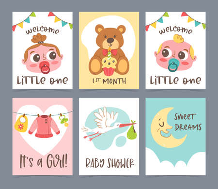 Cute baby shower card collection. New born greeting cards and invitation. Hand drawn vector illustration.