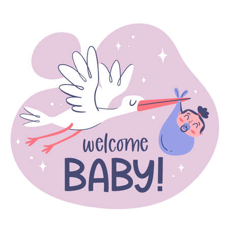 Cute baby card template with a hand drawn stork holding a baby girl.
