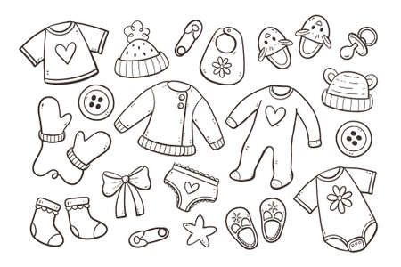 Set of cute hand drawn baby and newborn clothes and accessories isolated on white background. Doodle vector illustration. Vectores