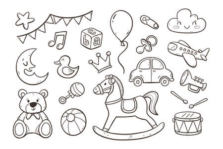 Set of cute hand drawn baby and newborn toys and accessories isolated on white background. Doodle vector illustration. Vectores