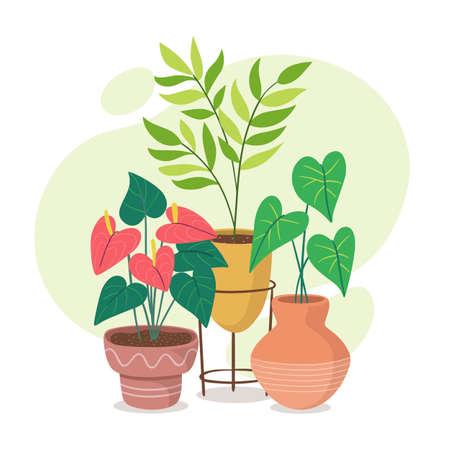 Beautiful houseplants in different styles of pots. Indoor decoration. 矢量图像