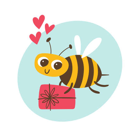 Cute smiling bee, holding a gift. Love and friendship concept. Cute sticker for kids. Cartoon vector illustration. Vectores