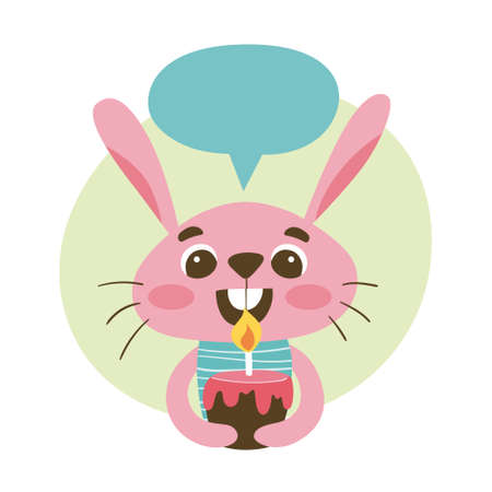 Cute rabbit holding a birthday cake and a speech bubble above his head. Cute sticker for kids. Cartoon animal vector illustration. Иллюстрация