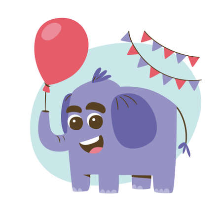 Cute smiling elephant with a red balloon. Party and celebration concept. Cute sticker for kids. Cartoon animal vector illustration. Иллюстрация