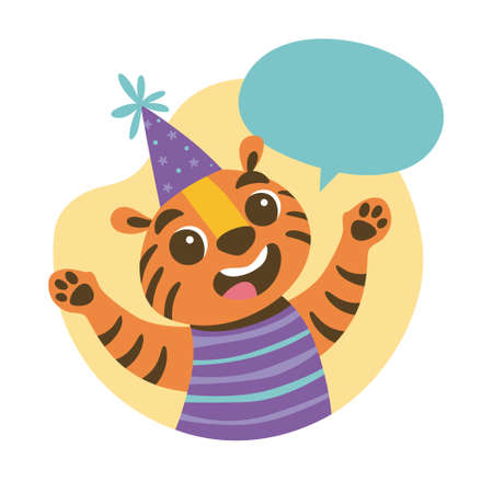 Cute tiger wearing a party hat and a blank speech bubble above his head. Party and celebration concept. Cute sticker for kids. Cartoon animal vector illustration. Vectores
