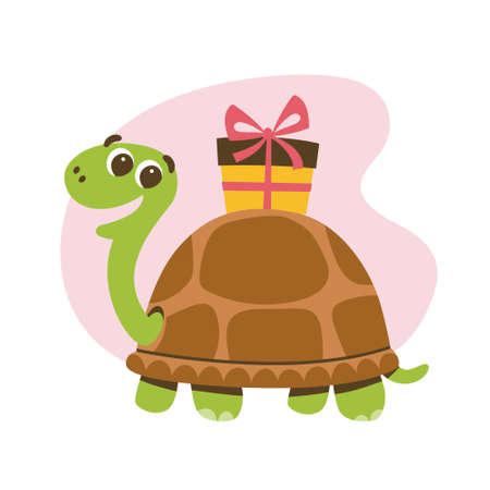 Cute smiling turtle with a gift on its shell. Love and friendship concept. Cute sticker for kids. Cartoon vector illustration.
