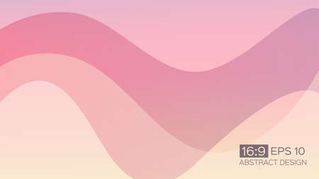 Abstract gradient background with soft waves. 16: 9 screen format. Colorful vector illustration, perfect for web applications, brochures, design templates and business presentations. Pink background.