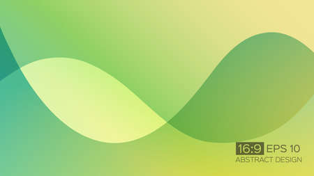 Abstract gradient background with soft waves. 16: 9 screen format. Colorful vector illustration, perfect for web applications, brochures, design templates and business presentations. Green background. Vectores
