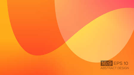 Abstract gradient background with soft waves. 16: 9 screen format. Colorful vector illustration, perfect for web applications, brochures, design templates and business presentations. Orange background. Vectores