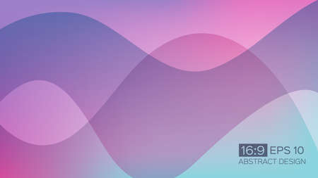 Abstract gradient background with soft waves. 16: 9 screen format. Colorful vector illustration, perfect for web applications, brochures, design templates and business presentations. Purple background. Иллюстрация
