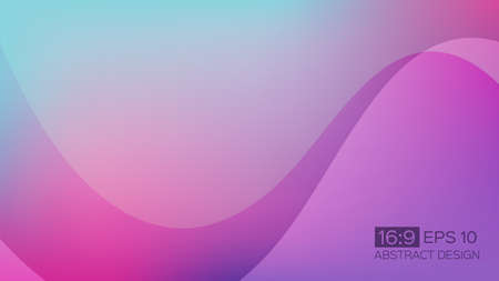 Abstract gradient background with soft waves. 16: 9 screen format. Colorful vector illustration, perfect for web applications, brochures, design templates and business presentations. Purple background. Vectores