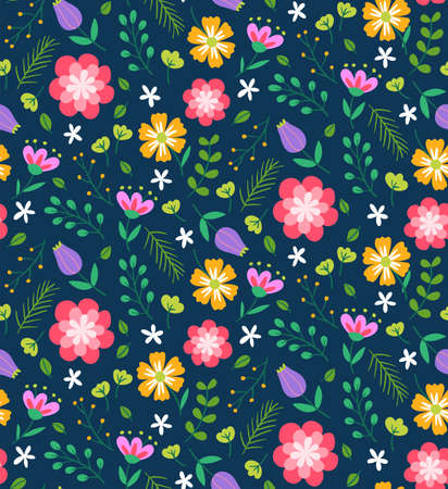 Colorful floral seamless vector pattern for design and surface prints. Floral pattern with flowers, leaves and branches on a dark blue background. Ditsy style.