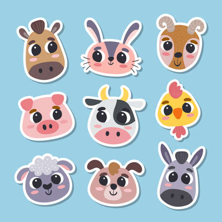 Animal stickers in cartoon style. Collection of cute farm animal heads. Vector illustration.
