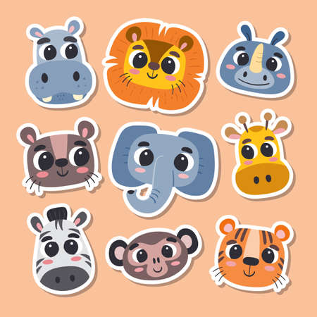 Animal stickers in cartoon style. Collection of cute wild animal heads. Vector illustration.