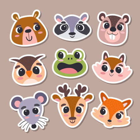 Animal stickers in cartoon style. Collection of cute forest animal heads. Vector illustration.