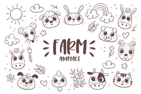 Animal doodle background. Farm animal heads with tropical plants and leaves. Perfect for coloring books and children activities. Vector illustration.