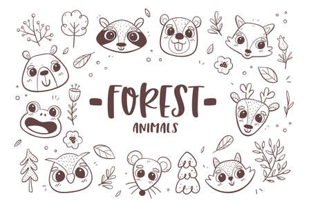 Animal doodle background. Forest animal heads with trees, plants and flowers. Perfect for coloring books and children activities. Vector illustration. Иллюстрация