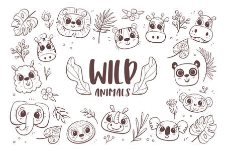 Animal doodle background. Wild animal heads with tropical plants and leaves. Perfect for coloring books and children activities. Vector illustration.