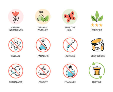Natural and organic products icon set. Toxic free emblems. No animal tested, natural cosmetic icons. Recycle and organic cerified. Colorful vector illustration.