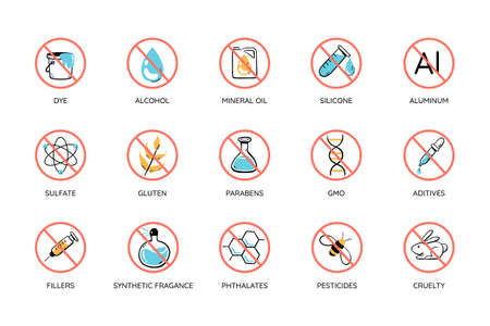 Colorful toxic free icon set. Cruelty free, free toxic: alcohol, mineral oil, silicone, aluminum, sulfates, parabens ... Perfect for natural cosmetic products. Vector illustration. Иллюстрация