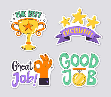 Collection of achievement stickers perfect for teachers and kids. Hand drawn vector drawings.