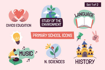 School subjects educational icons. Hand-drawn vector labels with primary school subjects. Perfect for timetables, websites, school apps, sticker design, etc