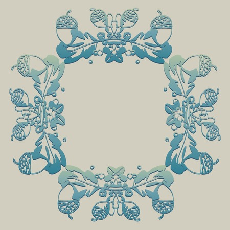 oak wreath: background, frame with acorns, wreath, beautiful turquoise, oak wreath,floral ornament