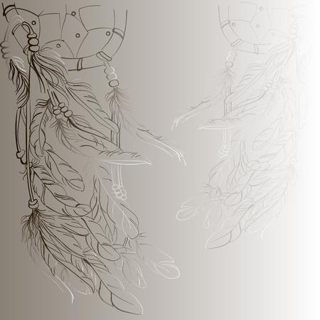 retro circles: Dreamcatcher background, sketch, vector, beige,