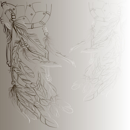 atrapasue�os: Dreamcatcher fondo, dibujo, vector, beige,