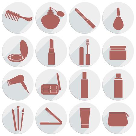 concealer: vettore, icona, bellezza, trucco, pettine, crema, capelli, rossetto, mascara, ombretto, pennello spugna, lacca per capelli, curling. correttore, borsa trucco