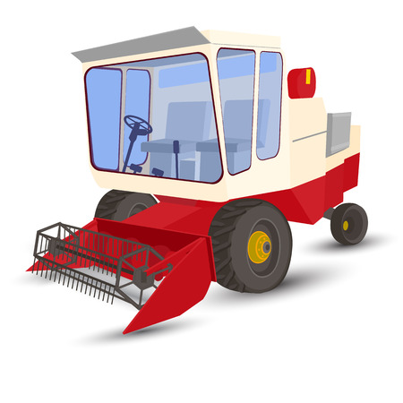 reaping: combine harvester white background