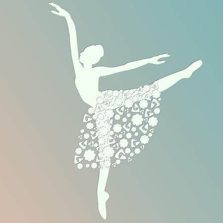 ballerina dancing white silhouette 일러스트