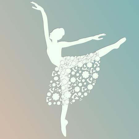 ballerina dancing white silhouette Иллюстрация