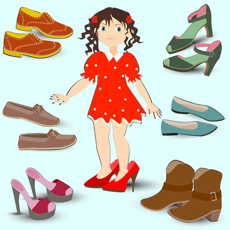 little girl trying on big shoes, a lot of different footwear Illustration