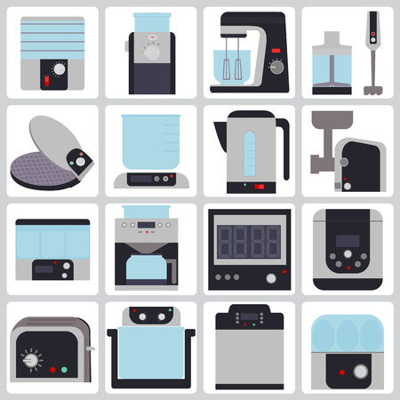 major household appliance: set of colored icons of small household appliances for the kitchen Illustration