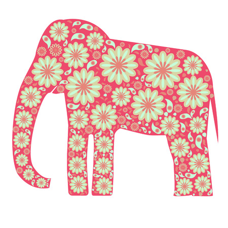 pink elephant: decorative pink elephant with floral patterns