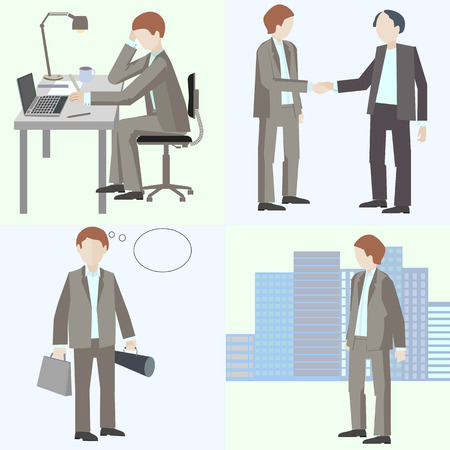 gray suit: set of vector illustration, flat design, architect, an architect, designer, engineer, work process, a man sitting at the table, a man with a briefcase, with extension, drawings on the computer, meeting, shaking hands, a man in a gray business suit, busine