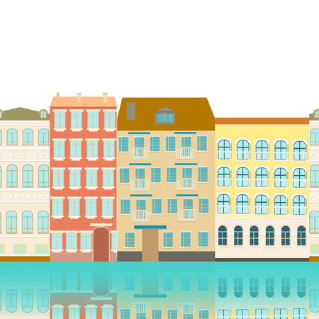 old houses: seamless border, abstract street with old houses, reflected in the river,