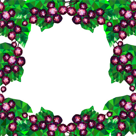 currant: frame with black currant, frame with blackberry, currant abstract geometric, triangles