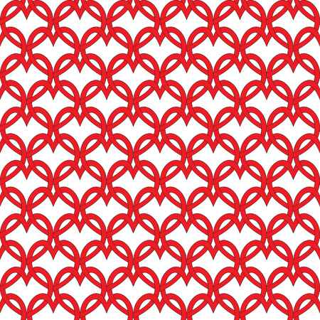 entwined: seamless pattern with red hearts entwined in Celtic style