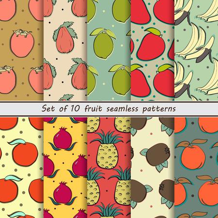 exotic fruits: set fruit seamless patternsset of seamless fruit pattern 10 seamless patterns, exotic fruits, pineapple, t grenades, bananas, oranges, kiwi, lime, papaya, mango, persimmon, peach, tangerine, citrus. Apricot. Set of abstract background Illustration