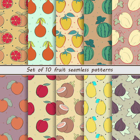 nectarine: Set of fruit patterns,grapefruit, granadilla, cocoon, watermelon, cantaloupe, naranjilla, peach, nectarine, plum, coconut, lemon, figs, berries, fruits, background with dots, scrub, print, paper, wrapper