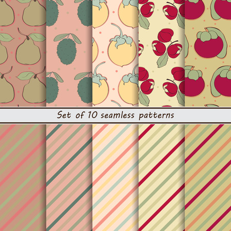 scrap paper: set of seamless patterns of fruit,Santana, pear, guanabana, Nancy, guarana, mangosteen, exotic, tropical, asia, scrap paper, point, bar, oblique, color, retro, set, hand painted