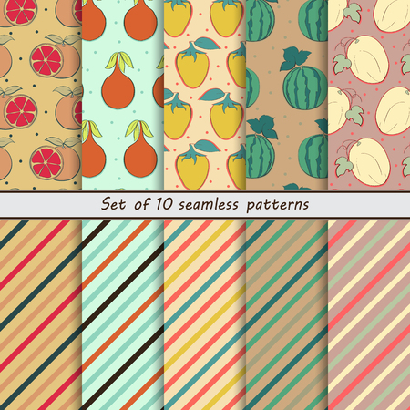 scrap paper: set of seamless  patterns Fruit pattern, striped background ,grapefruit, granadilla, cocoon, watermelon, cantaloupe, scrap, paper Illustration