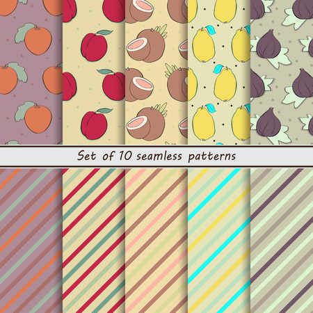 scrap paper: set of seamless  patterns, fruit,naranjilla, nectarine, coconut, lemon, fig, scrap paper, background, hand drawn, dot, stripe, oblique, colorful, companies, small, simple