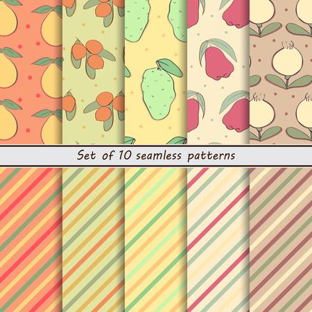 striped background: set fruit seamless backgrounds, Bail, Mafai, noni, rose apple, murshula, striped background, dots,