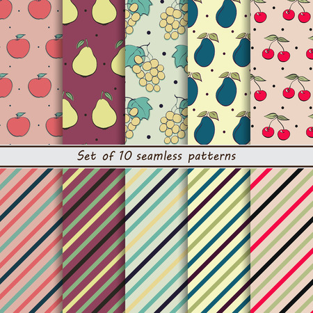 enchanting: set of seamless backgrounds fruit, apple, pear, grape, plum, cherry, striped background, dots, vector design